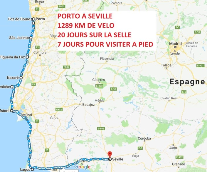carte prévisionnelle 2018 PORTO SEVILLE